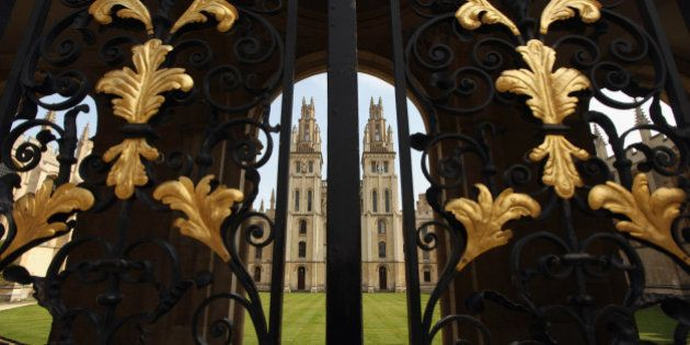OXFORD, ENGLAND - MARCH 22: All Souls' College quadrangle seen through its Radcliffe Square gate on March...