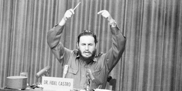 Premier Fidel Castro gestures angrily as he censured resigned provincial military commander Major Hubert...