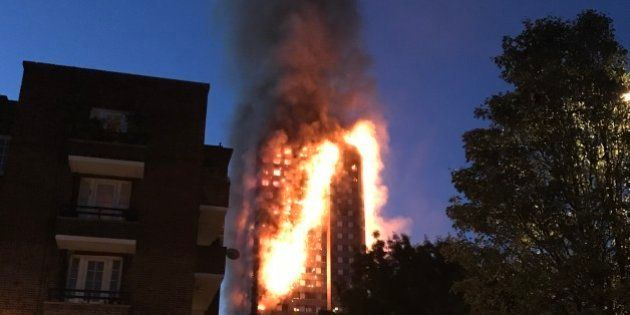 London 14th June: A huge fire engulfs the 24 story Grenfell Tower in Latimer Road, West London as emergency...