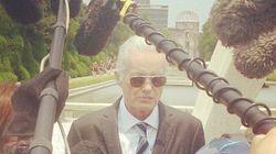 ジミー・ペイジさん、44年ぶりに広島入り 原爆慰霊碑に献花