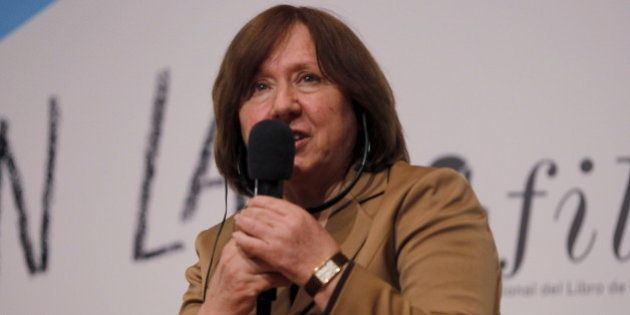 The 2015 Nobel literature laureate Svetlana Alexievich speaks during a meeting at the 29th International...
