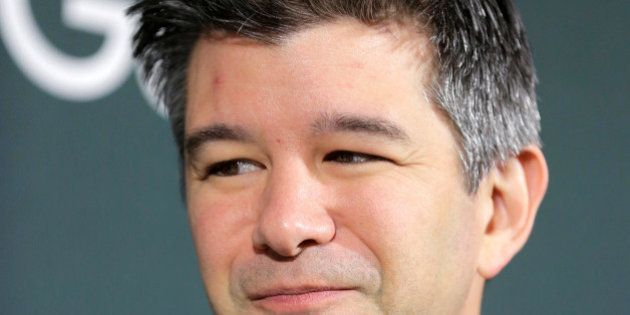 Chief Executive Officer of Uber Travis Kalanick arrives at the Google, HBO and the Smithsonian's American...