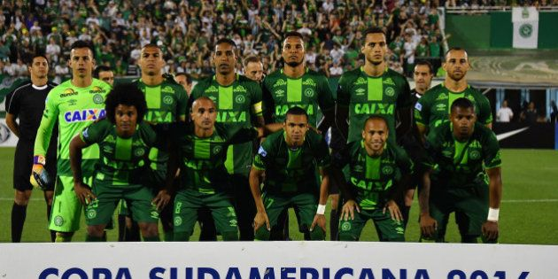 Brazil's Chapecoense players pose for pictures during their 2016 Copa Sudamericana semifinal second leg...