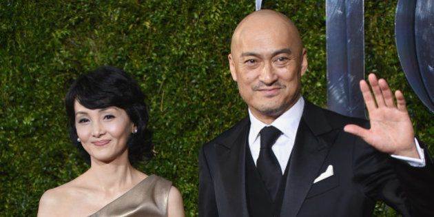 Ken Watanabe, right, and Kaho Minami and arrive at the 69th annual Tony Awards at Radio City Music Hall...