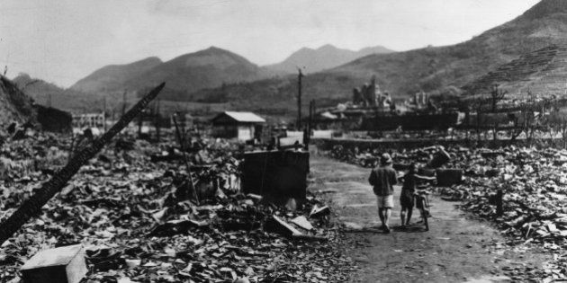 The ruins of Nagasaki after the dropping of the atomic bomb. (Photo by Hulton Archive/Getty