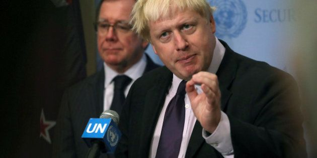 New Zealand's Foreign Minister Murray McCully and Britain's Foreign Secretary Boris Johnson participate...