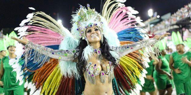 RIO DE JANEIRO, BRAZIL - FEBRUARY 06: A woman of the Caprichosos de Pilares samba school performs during...