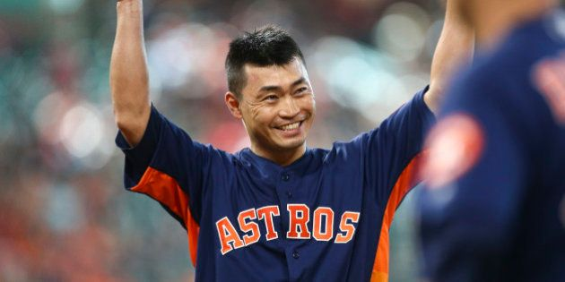 Jun 11, 2017; Houston, TX, USA; Houston Astros left fielder Norichika Aoki (3) waves to the crowd after...