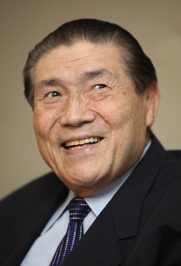 文化功労者に選ばれ、喜びを語る元横綱大鵬の納谷幸喜さん(東京・両国国技館)