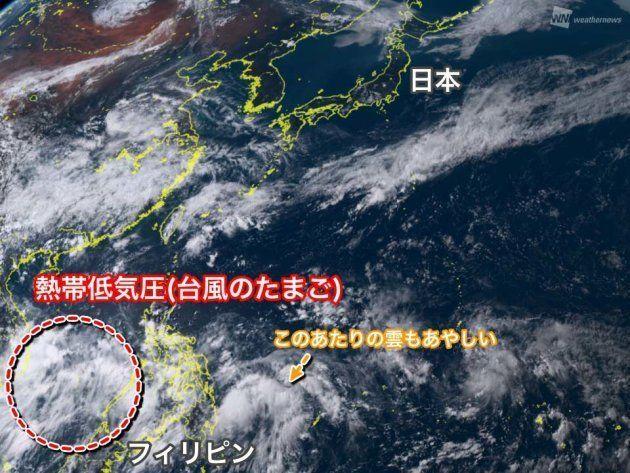 2日15時頃のひまわり衛星画像