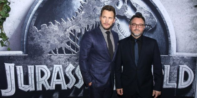 Chris Pratt, left, and director/writer Colin Trevorrow arrive at the Los Angeles premiere