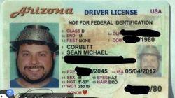 運転免許の写真に「パスタの湯切りボウル」