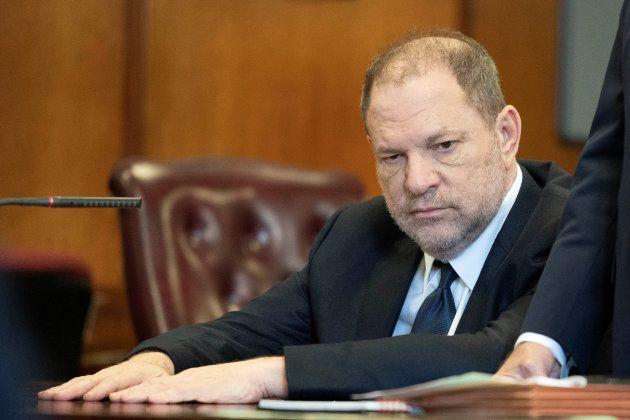 Film producer Harvey Weinstein inside Manhattan Criminal Court during his arraignment in Manhattan in...