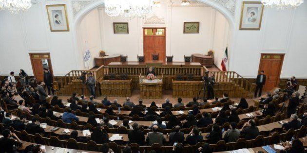 TEHRAN, IRAN - MARCH 13: Chairman of the Parliament of Iran, Ali Larijani answers the questions of the...