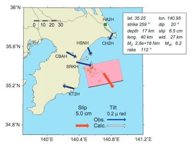 スロースリップ現象の発生を示す発表資料。地震本部の公式サイトより