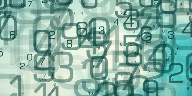 Abstract random numbers 0-9, computer big data