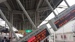 《大阪地震》阪急電鉄・茨木市駅のホームで電光掲示板が破壊(写真)