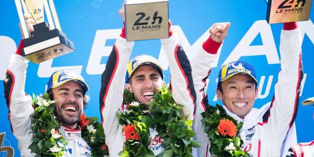 LE MANS, FRANCE - JUNE 17: Race winners - the #08 Toyota Gazoo Racing TS050 Hybrid of Fernando Alonso...