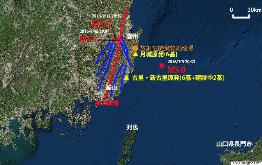 韓国、M5.8の地震は原発密集地で起きていた【一目で分かる地図】