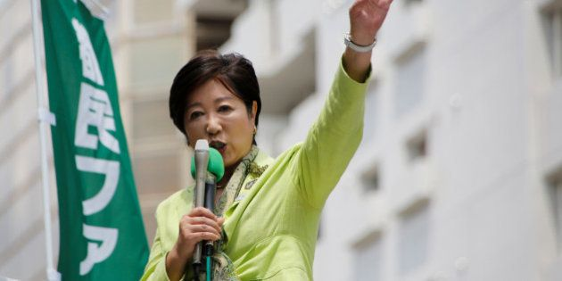Tokyo Governor Yuriko Koike makes a speech for candidates from her Tokyo Citizens First party ahead of...