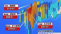 九州で300mm超の大雨、土砂災害や河川増水に警戒