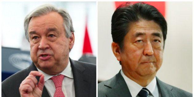 安倍首相と国連事務総長の会談で発表が食い違う