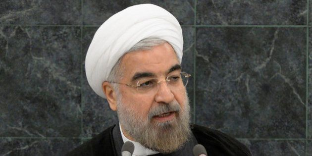 NEW YORK, NY - SEPTEMBER 26: Iranian President Hassan Rouhani addresses a High-Level Meeting on Nuclear...