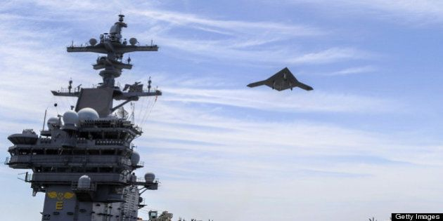 ATLANTIC OCEAN - MAY 14: In this handout released by the U.S. Navy courtesy of Northrop Grumman, an X-47B...