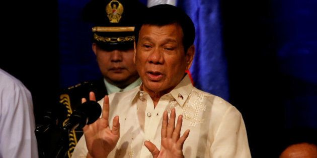 Philippines President Rodrigo Duterte speaks to members of the Filipino community in Jakarta, Indonesia...