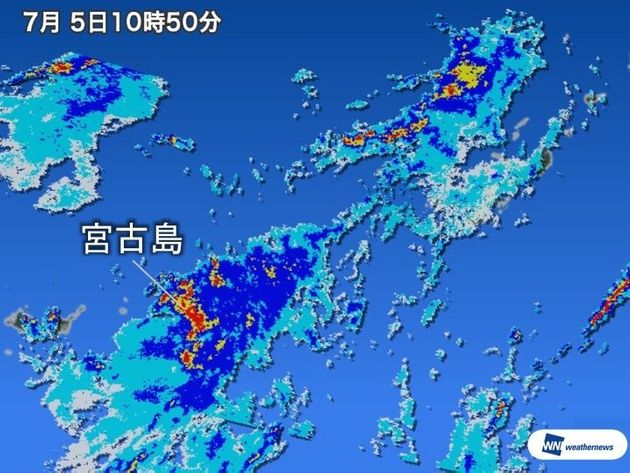 宮古島で50年に一度の記録的な大雨 1時間で100mmが降る