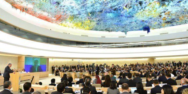GENEVA, SWITZERLAND - FEBRUARY 27: UN Secretary-General Antonio Guterres (L) delivers a speech during...