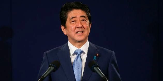 Japanese Prime Minister Shinzo Abe speaks during a press conference in London on April 29, 2017 to sum...