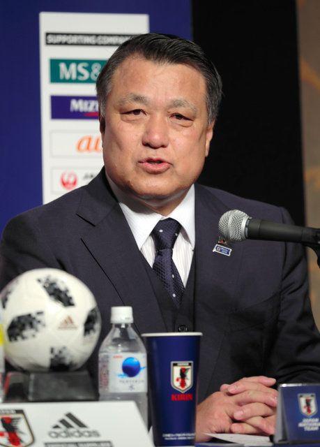 日本サッカー協会の田嶋幸三会長=2018年7月5日