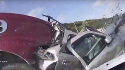 玉突き事故に巻き込まれた女性を救い出す人々の姿を、車載カメラが偶然撮影(動画)