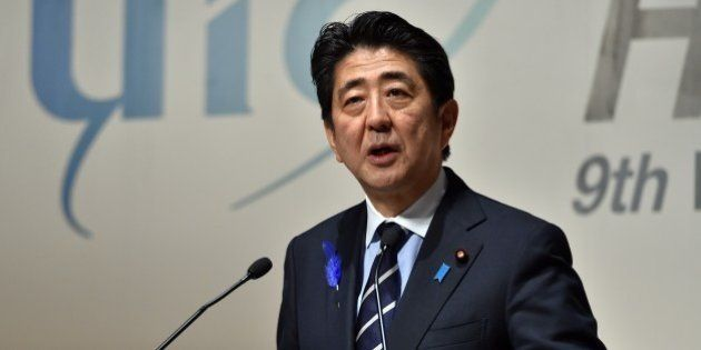 Japanese Prime Minister Shinzo Abe delivers a speech at the UIC 9th World Congress on High Speed Rail...