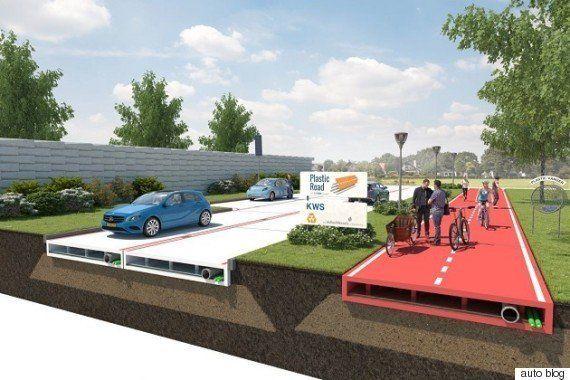 ペットボトルなどの再生プラスチックで造る道路を、オランダの会社が考案