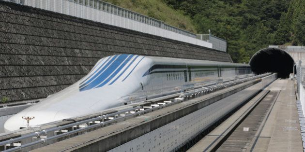 The L0 (L zero) series magnetic-levitation train, developed by Central Japan Railway Co., sits parked...