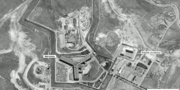 A satellite view of Sednaya prison complex near Damascus, Syria is seen in a still image from a video...