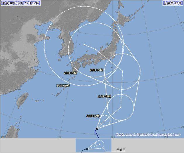 台風12号の経路図