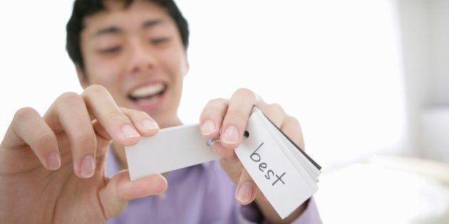 Japanese young man remembering English