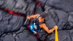 ハワイの溶岩の上をひるまずに走り抜ける男の動画(絶対に真似しないでください)
