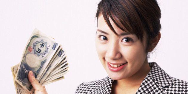 Businesswoman bundle of notes, Studio,