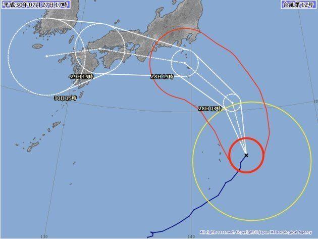 台風12号の進路予想図(7月17日午後5時)