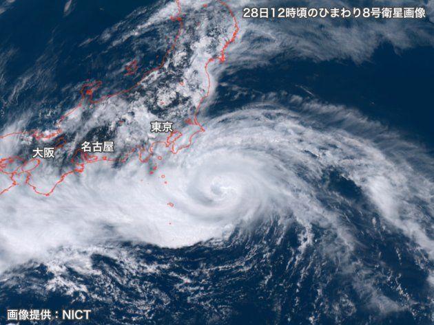 28日12時頃のひまわり8号衛星画像