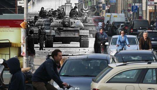 ベルリンの壁崩壊から25年 「過去と現在」を伝える合成写真