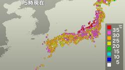 台風12号通過で猛暑に。フェーン現象で、北陸は39度以上の地域も