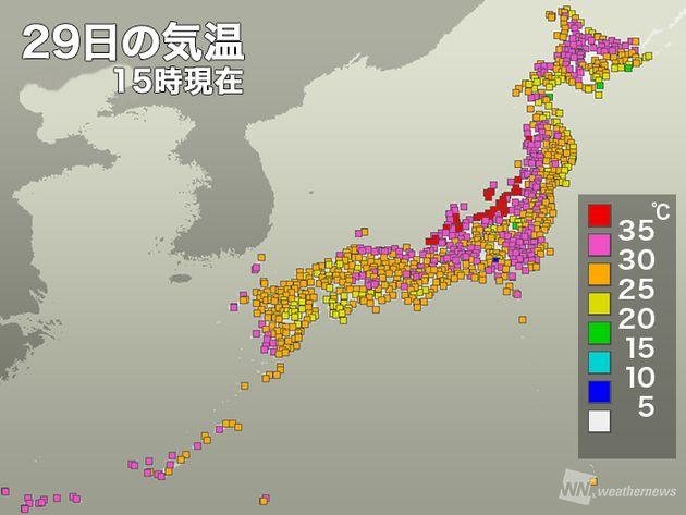 台風12号通過で猛暑に。フェーン現象で北陸は39度以上の地域も
