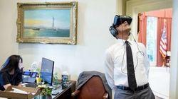 オバマ大統領、VRのヘッドセットをつけて大喜び(画像)