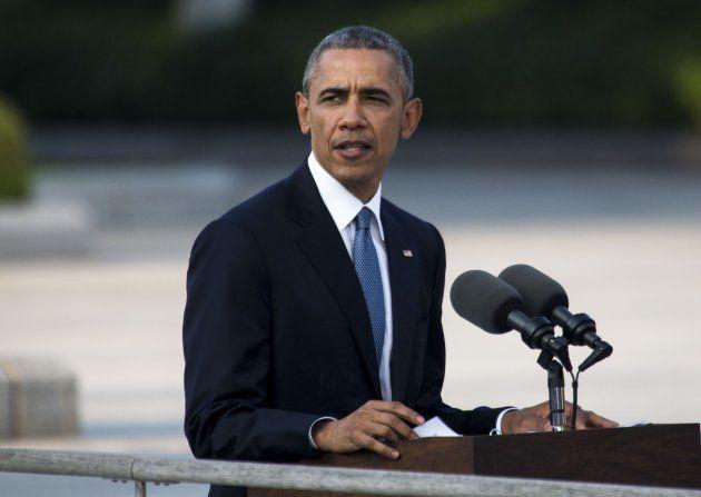 平和記念公園で演説する米国のバラク・オバマ大統領 撮影日:2016年05月27日