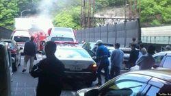 名神高速・大津トンネルで事故 1台炎上か